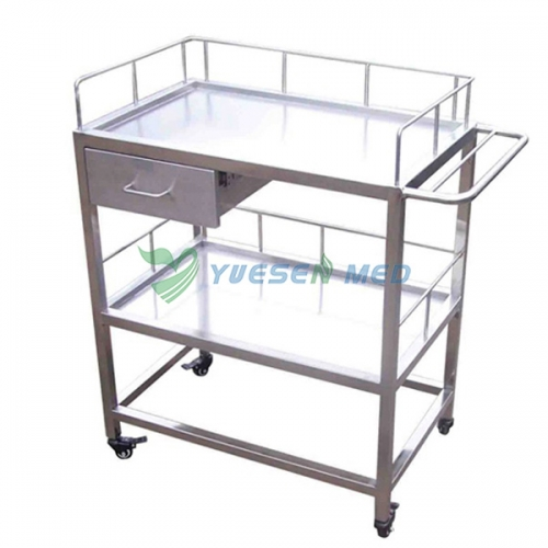 mobile double layer animal surgical instrument trolleyYSVET700