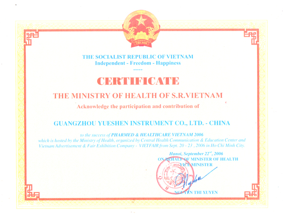 Certificate of honor issued by Ministry of Health of Vietnam